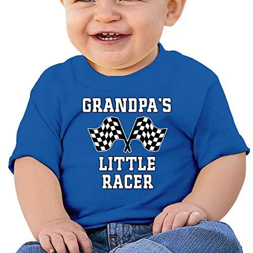 Camiseta Huahai para niños de manga corta con diseño de abuelo pequeño corredor de coche para carreras de niños al aire libre, azul, 2T