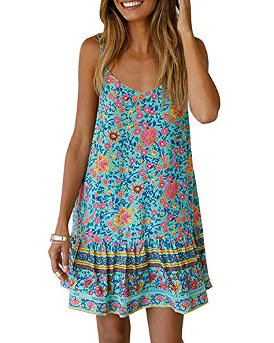 Abravo Mujer Vestido Boho Floral Verano sin Mangas Casual Falda Corta de Cuello V Profundo Mini Vestido de Playa