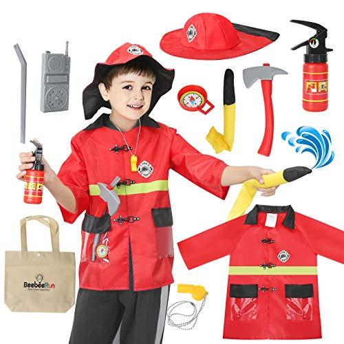 BeebeeRun Pompiere Giocattoli Bambini, Pompiere Gioco di Ruolo Set, Accessori di Pompieri Include Estintore, Ascia, Fischietto, Vestito Carnevale Pompiere Bambino 3-10 Anni