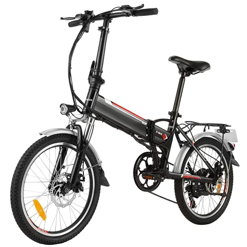 Speedrid Bici elettrica pieghevole, 20'' pieghevole bicicletta elettrica, 500W/250W bici elettriche 48V/10Ah 36V/8Ah batteria, Ebike con freni a disco, Shimano 6/7 velocità e LCD/LED display