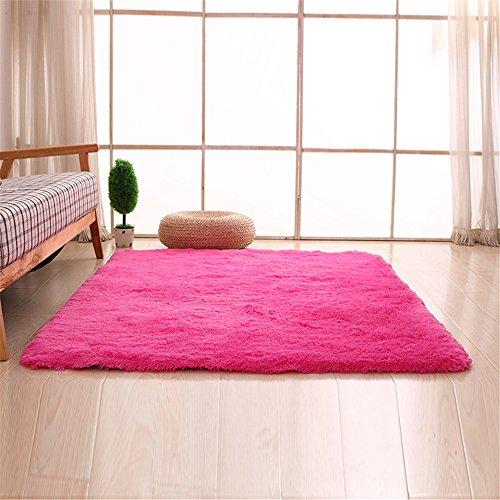 CAMAL Alfombras, Lavable Material de Lana de Seda Artificial Alfombra Decorativo Sala de Estar y Dormitorio (80cmX160cm, Rosa Roja)