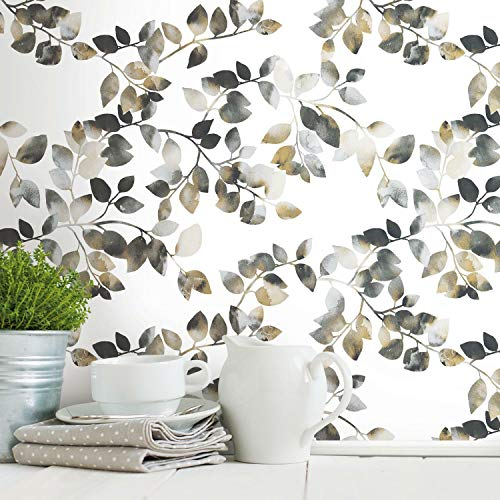 RoomMates RMK11948WP Black and Taupe Latvus Peel and Stick Wallpaper