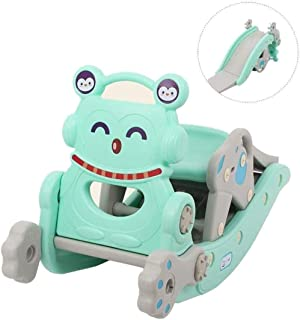 LITING Rocking Horse Children's Slide Rocking Horse Birthday Gift Baby Dual-Purpose Toy Wooden Horse (Size : Blue)