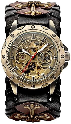 ZFAYFMA Reloj de hombre analógico de cuerda automática, reloj de movimiento de acero inoxidable Steampunk reloj de moda ocio regalo marrón