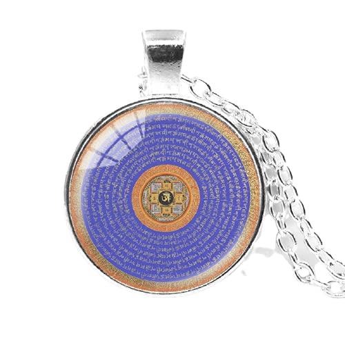 Collar con colgante de cadena multicolor con diseño de flor de la vida de cristal de cabujón de bronce negro y plata, budismo zen y mandala, arte de meditación