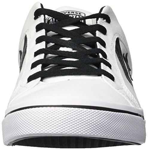 Converse - Zapatillas bajas de lona El Distrito para hombre, Blanco (blanco/negro/blanco), 37 EU