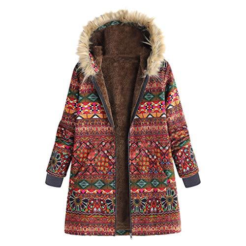 LENXH Ladies Retro Printed Cardigan Jacket Winter Large Size Coat Button Plus Velvet Jacket Long Hooded Jacket