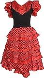 SUNBIRD Vestido baile sevillanas rojo lunares talla 2