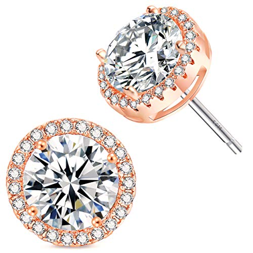 Rose Gold Plated Sparkling Round Cubic Zirconia CZ 10mm Halo Stud Earrings With Silver Post. …