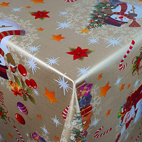 Wachstuch Wachstischdecke Tischdecke Gartentischdecke Weihnachten Zuckerstange Gold Breite & Länge wählbar 140 x 200 cm Eckig abwaschbar