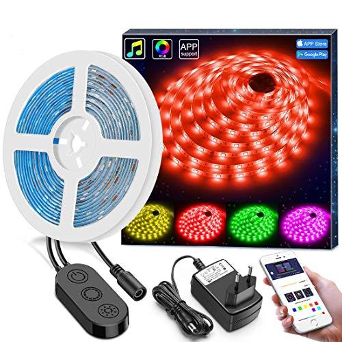 MINGER Wasserdicht LED Strip 5m, Flexibles Strip Lichtleiste mit App, Bluetooth Kontroller, LED Beleuchtung für Haus, Garten, Dekoration, 12V