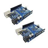 KKHMF 2個 UNO R3 ATmega328P 開発ボード Arduinoと互換 + USB ケーブル 「国内配送」