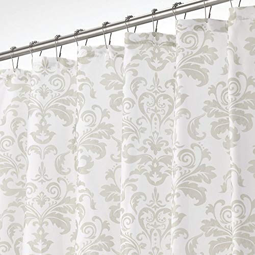 "mDesign Decorative Damask Print - Easy Care Fabric Shower Curtain with Reinforced Buttonholes, for Bathroom Showers, Stalls, and Bathtubs, Machine Washable - 72"" x 72"" - White/Light Gray"