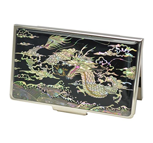 Drachen-Visitenkartenetui schwarz, Metallgehäuse für die Lagerung for Namens Karten. Perlmutt Dekorationen, traditionelle koreanische Kunsthandwerk