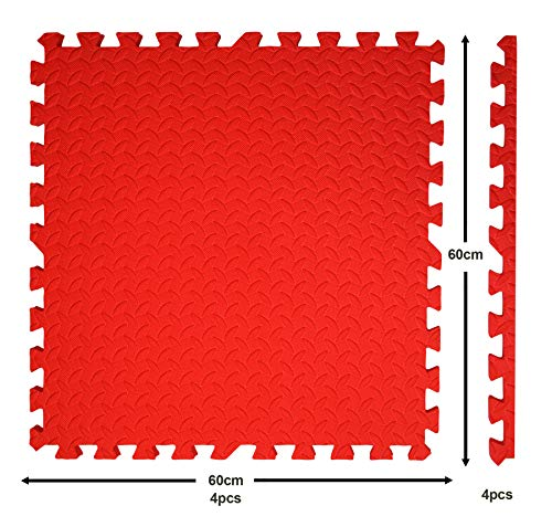 Edukit Interlocking Puzzle Floor Tiles Mat; Pack of 4; 61.5 x 61.5cm; 2cm Thick; EVA Foam; Red – Thicker and Larger than Regular Tiles for Heavyweight Equipment - Ideal for Gyms, Garage or Gardens