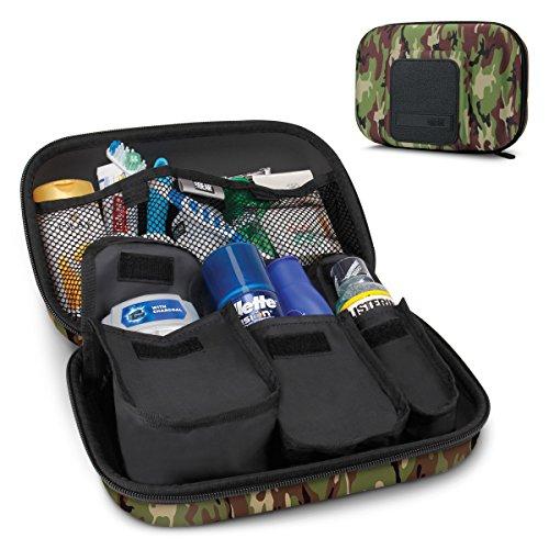 USA Gear ハードシェル トイレタリー トラベルバッグ オーガナイザーキット カスタマイズ可能な収納ポケット付き ? 電動歯ブラシ、シャンプー、ボディウォッシュ、シェービング用品などの持ち運びに最適 ? カモグリーン