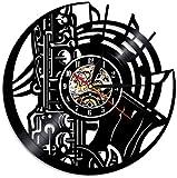 YDDLIE Reloj de Pared de Vinilo Banda de saxofón Retro 3D Reloj casero Decoración DIY
