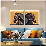 Nordic Two Set of Horses Wall Art Posters And Prints Animal Horse Wall Pictures para la sala de estar Decoración del hogar Pintura de la lona / 50X50cm2pcs-Sin marco
