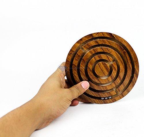 Nagina International Ball in A Maze Puzzle Jeu | Jeu de Table pour Enfants avec Labyrinthe en Bois Artisanal de première qualité | Jouets en Bois et Artisanat (Large)