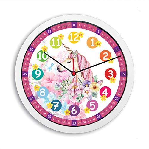 Geräuscharme Einhorn Kinder Wanduhr Blumen Lernuhr Uhr für Mädchen rosa Kinderwanduhr 30 cm Ø (Einhorn)