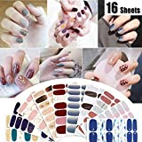 16 Sheets Nail Polish Strips Stickers Nail Art Decal Nail Wraps Pure Color Nails Strips Street Self Adhesive False Nail Design Manicure Set With 1Pc Nail Buffers Files For Women Girls