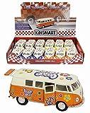KT Una y Treinta y Dos Die Cast Volkswagen autocaravanas con Paz y Amor Hippy Diseño - Colores Surtidos - 1 Suministrado