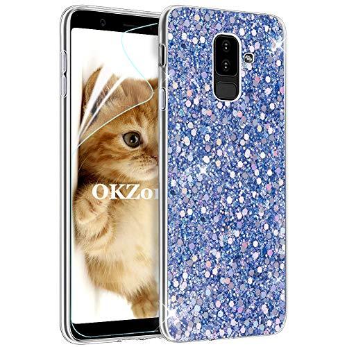 Cover Samsung Galaxy A6 Plus 2018,OKZone Custodia Lucciante con Brillantini Glitters Ultra Sottile Design Case Cover di Alta Qualità in Silicone TPU Bumper Cover per Samsung Galaxy A6 Plus 2018 (Blu)