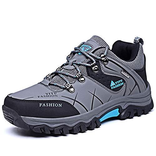 LCXAX Chaussures de Randonnée Basses Homme Chaussures de Marche Chaussure Montagne Cuir Antidérapant Trekking Outdoor, Gris, 44 EU