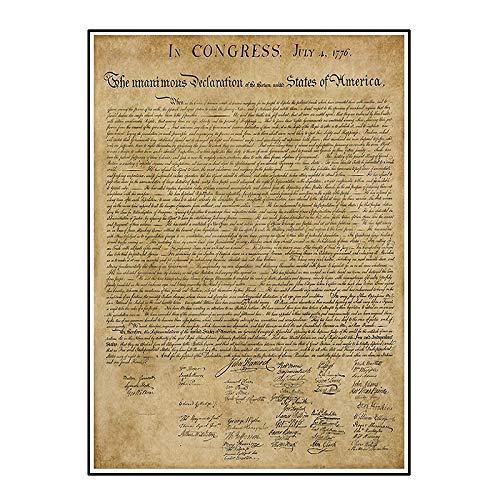 Ignite Wander Plakate und Drucke Vintage amerikanische Unabhängigkeitserklärung Leinwand Wandkunst für Wohnzimmer Dekoration Wohnkultur -50x75 cm No Frame