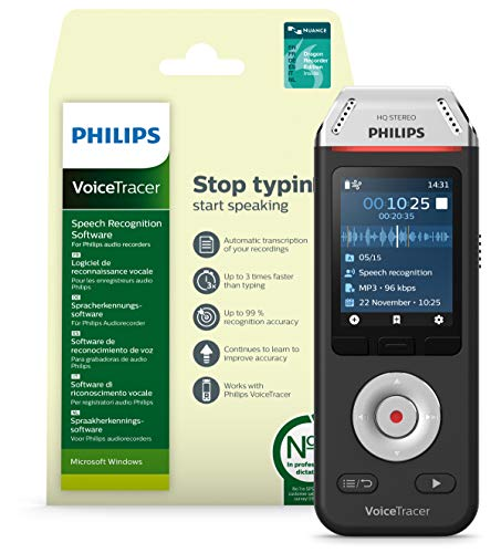 Philips Voicetracer Audiorecorder DVT2810 mit Dragon-Spracherkennungssoftware für Windows