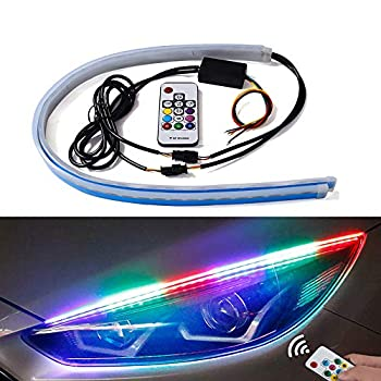Exterior Car LED Lights - Multicolor 2 Pcs 24 inches Daytime Running Lights RGB Flexible LED Strip Light Kits - for Car Replacement Switchback Headlight Decorative Lamp and Turn Signal Lights