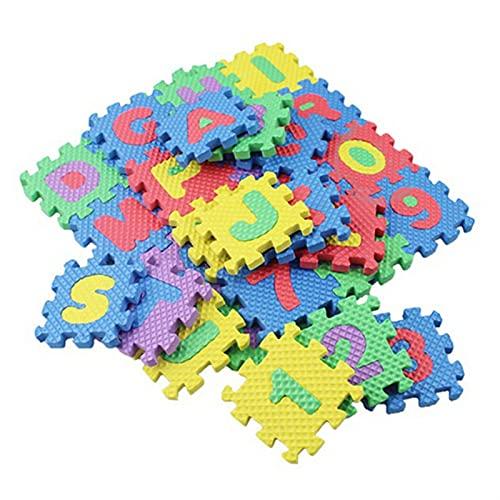 LNSGA 36 Piezas inglesas alfanuméricas alfanuméricas 3D Rompecabezas Suave Piso bebé rastreo Juego Espuma Infantil Alfombra alfombras esteras artículos del hogar Juguete