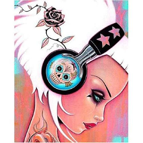 Arte 5D DIY diamante pintura dibujos animados chica auriculares imágenes de diamantes 5D bordado decoración del hogar 40x50 CM