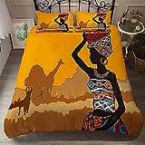 HUA JIE Funda Nordica Conjuntos De Ropa De Cama Africano De Baile Africano, Juego Étnico Tribal Black Girl Ultra Soft Microfiber Duvet Set, con 2 Farsas De Almohada