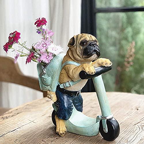 HaoLi Maceta para Mascotas Pug Scooter Adorno Planta suculenta Maceta Florero Decoración para el hogar o el jardín