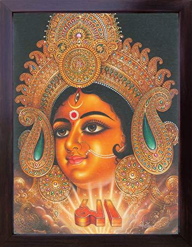 HandicraftStore MAA Durga Ein Gürtel der Göttin Maa Kali, Ein seltener Hindu Religiöse Gemälde Poster Plakat mit Rahmen für Verehrung