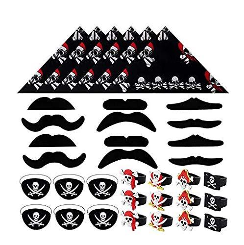 Set de Fiesta Pirata 36 Piezas - pañuelos, Barbas, Parches y Anillos en diseño Pirata - para niños y Adultos Fiestas temáticas y cumpleaños