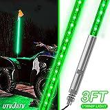 UTVJATV 3ft LED Whip Green Lights Waterproof Flag Pole Safety Antenna with Flag for Can-Am Maverick X3 Sand Dune Buggy UTV ATV 2020 Polaris RZR XP 4X4 Offroad Truck 4 Wheels - 1PCS