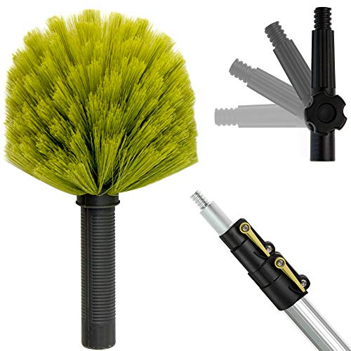 DocaPole 5-12 Foot Extension Pole with Cobweb Duster // Ceiling and Corner Duster // for Dusting and Cleaning High Ceilings and Corners with Extension Pole // Telescopic Pole Dusting and Cleaning Kit