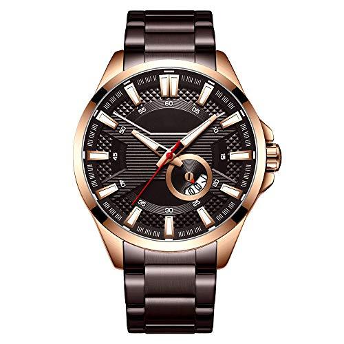 Eantpure Business Casual Reloj,Impermeable, Reloj con Banda de Acero de Cuarzo, Negocios, Casual, Calendario, Reloj para Hombres-TO,Impermeable Elegante Relojes