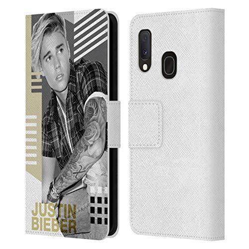 Head Hülle Designs Offizielle Justin Bieber Kalender Geometrische Collage Purpose Sw Leder Brieftaschen Huelle kompatibel mit Samsung Galaxy A20e (2019)