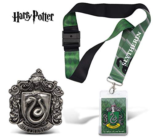 Warp Gadgets Harry Potter Bundle - Slytherin Deluxe Lanyard W/ Card Holder and Pewter Lapel Pin (2 Items)