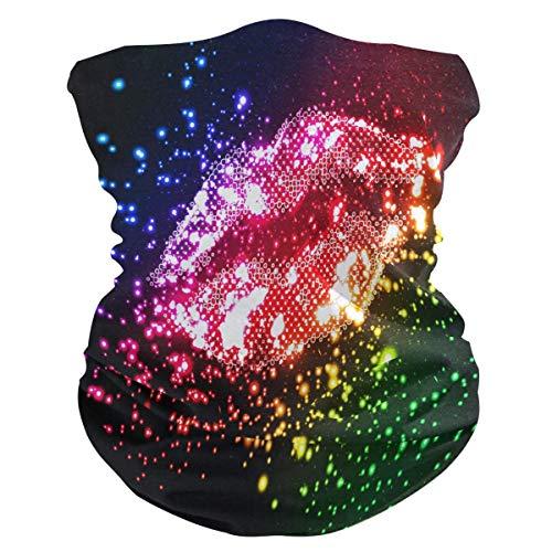 Glitter Sexy Lip Valentijnsdoek, multifunctionele bedrukking, hoofddoek, halsmanchet, hoofdband, ademend, 25 x 50 cm, winddicht, uv-zacht, wasbaar, bescherming gezicht bandana's in de open lucht