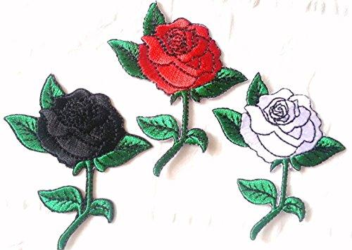 Blumen Aufnäher für Jeans Jacken Kleidung Set Bügelbilder Flicken Applikation Patches Aufbügler Aufnäher zum aufbügeln  3 er Set je 8 x 6 cm DREI Rosen - schwarz rot und Silber