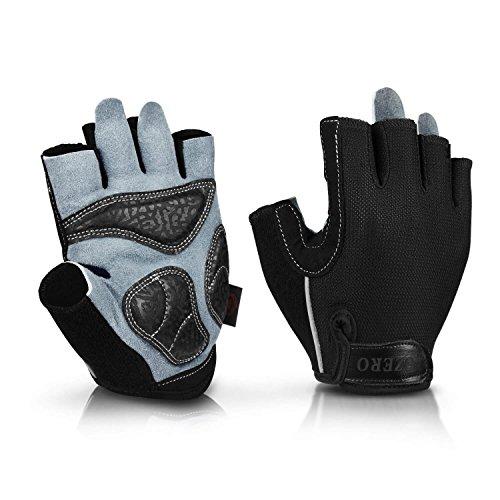 OZERO Fahrradhandschuhe, Fingerlose Handschuhe mit Rutschfester und vibrationsabsorbierender Handfläche für Herren und Damen
