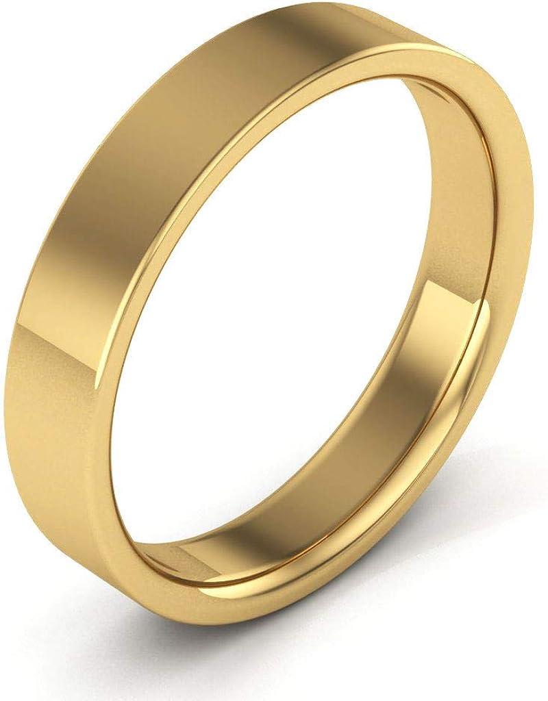 14K Yellow Gold men's and women's plain wedding bands 4mm flat comfort-fit