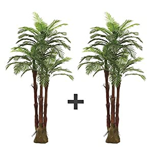 Silk Flower Arrangements AMERIQUE Pair Gorgeous 6 Feet Triple Tropical Palm Artificial Plant Tree with Standable Trunk, Real Touch Technology, with UV Protection, Green, 2