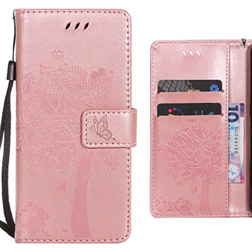 Ougger Handyhülle für Huawei Enjoy 5s (Huawei GR3) Hülle, Einzigartiger Baum Tasche Leder Schutzhülle Bumper Schale Weich Tasche Magnet Silikon Beutel Flip Cover mit Kartenslot (Rose Gold)