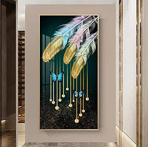 Pintura Diamante 5D DIY Grand Feather Beginner Diamond Painting Full Drill Bordado Punto De Cruz Adultos Arte Craft Home Salón Decor De Pared 50x100cm