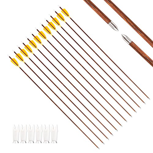 MS JUMPPER Carbon Arrows Wood Grain Shafts 800 Spine with Real Feathers Fletching and Adjustable Nocks for Compound Recurve Bow (31 Inch Arrows)